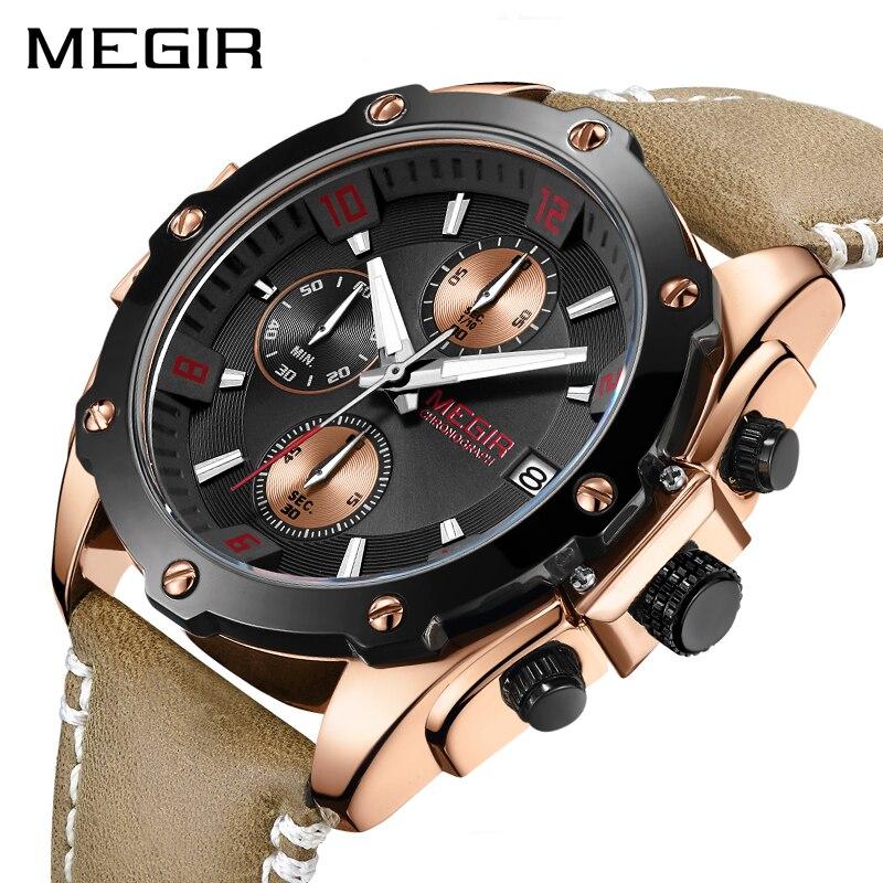MEGIR montre hommes Relogio Masculino mode créatif Sport chronographe Quartz montres horloge heure cuir militaire armée montre