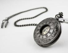 wholesale 2011 HOT New Lace Dress Pocket Watch Gun color Mechanical Mens freeship