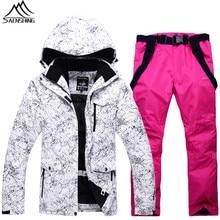Saenshing Zimowy kombinezon narciarski mężczyźni kobiety wodoodporna kurtka narciarska + pant zagęścić ciepłe na zewnątrz camping narciarstwo snowboard śnieg garnitury męskie