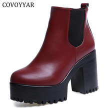 COVOYYAR 2019 Vintage Platform Chunky Heel Ankle Boots Women Spring Autumn Fashion Booties Woman Shoes Black/Red Size 40 WBS279