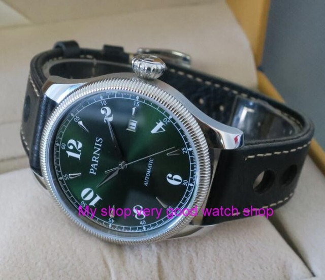 42mm Parnis Sapphire Crystal Japanese 21 jewels Automatic Self-Wind Movement Mechanical watches 5Bar Green dial Mens watches t8