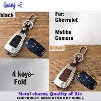 Car styling couverture lampe en cuir + en alliage de Zinc Métal clés sac chaîne de clé de cas Portefeuille partie fold 1 pcs pour Chevrolet Malibu/Camaro