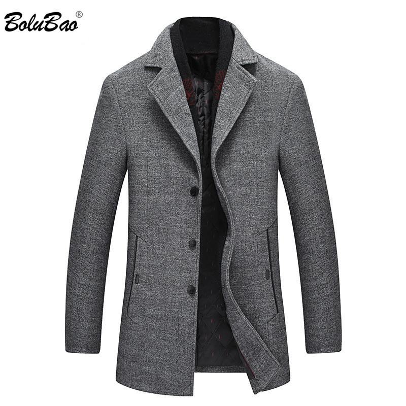 BOLUBAO Brand Men Winter Wool Coat Men's Scarf Lapel Solid Color Fashion Overcoat Casual Thick Wool Blends Coats Male