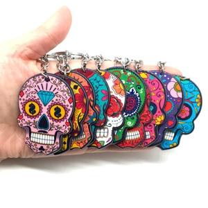 Image 3 - Calavera Sugary sweet whimsical skull Keychain Keyring Celebrate Mexican Day of the Dead Halloween Acrylic Sugar Skull Key Chain