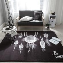 Black Modern Cool Bohemian Style Doormat Rectangle Anti Slip Fleece Carpet And Rug For Home