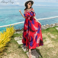 Beach sexy sling dress mexican boho chic hippie style sundresses summer female Q396