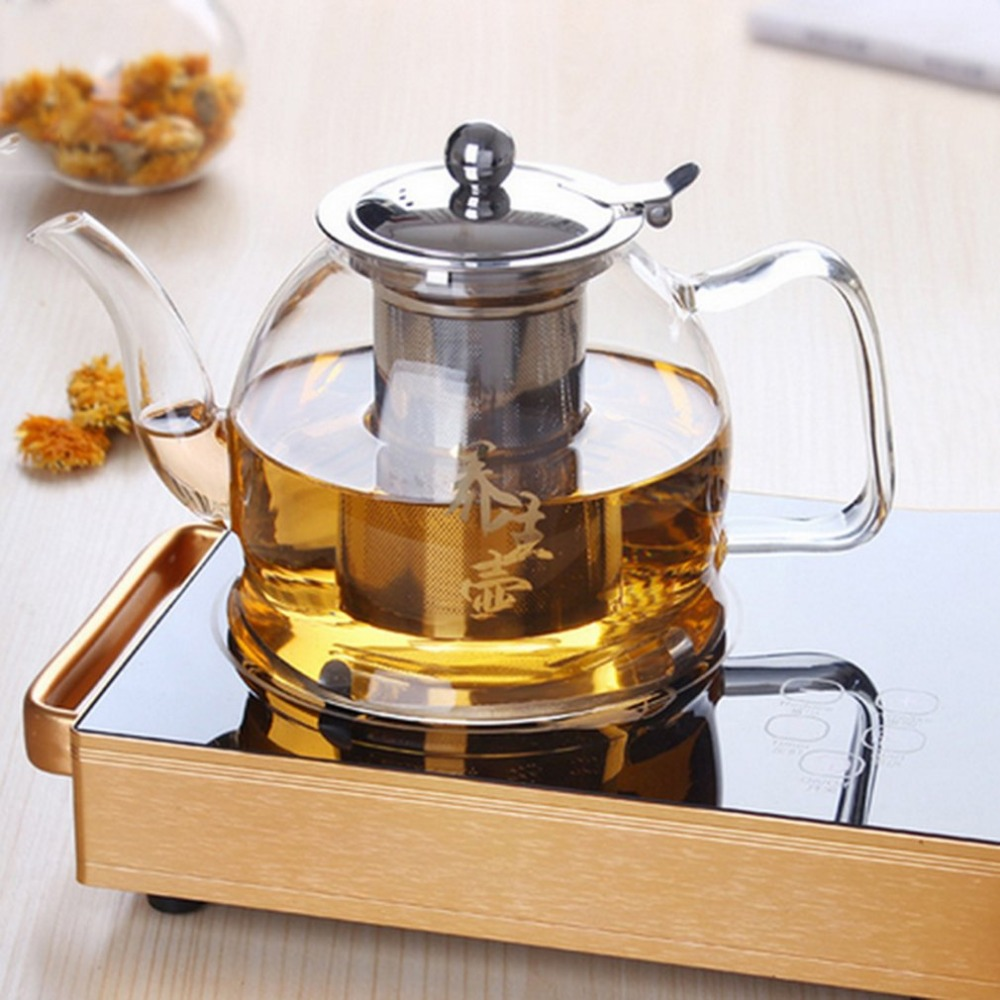 Thick Electromagnetic Transparent Clear Borosilicate Glass Teapot Elegant Glass Tea Cup Teapot With Stainless Steel Infuser