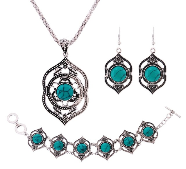 Hot Sale Copper Antique Silver Plated Necklace And Earring and Bracelet Set for