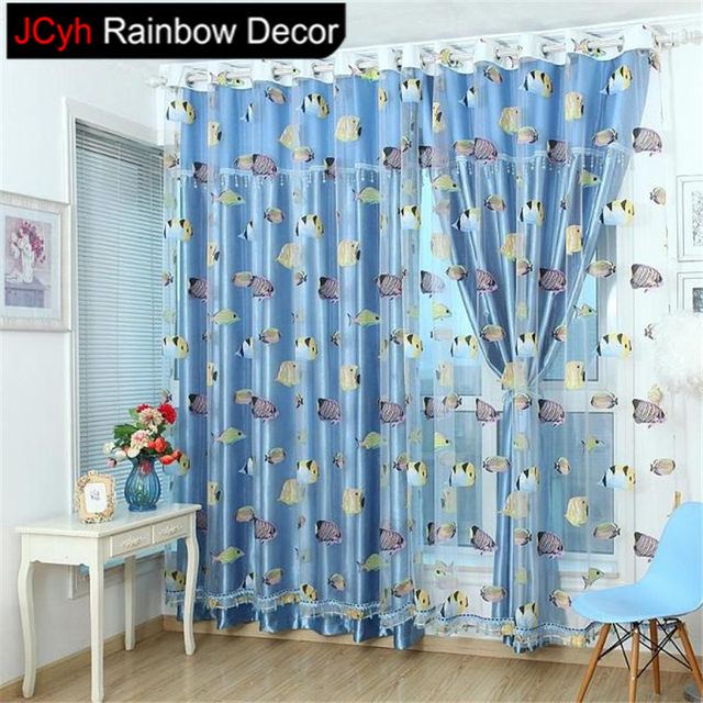 JRD Kids Cartoon Fish Blackout Tulle Curtain Colorful Blue Ocean Sea Life  Window Curtains Bedroom Voile Curtain Panels Screening
