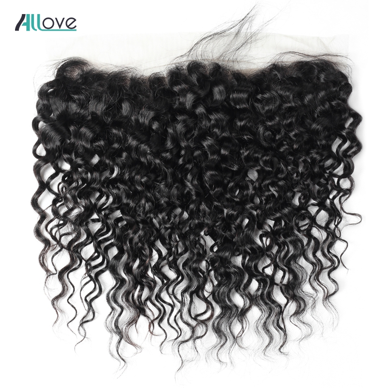 Allove Water Wave Frontal Closure 8 20inch Peruvian Hair Closure Swiss Lace 13x4 Ear To Ear