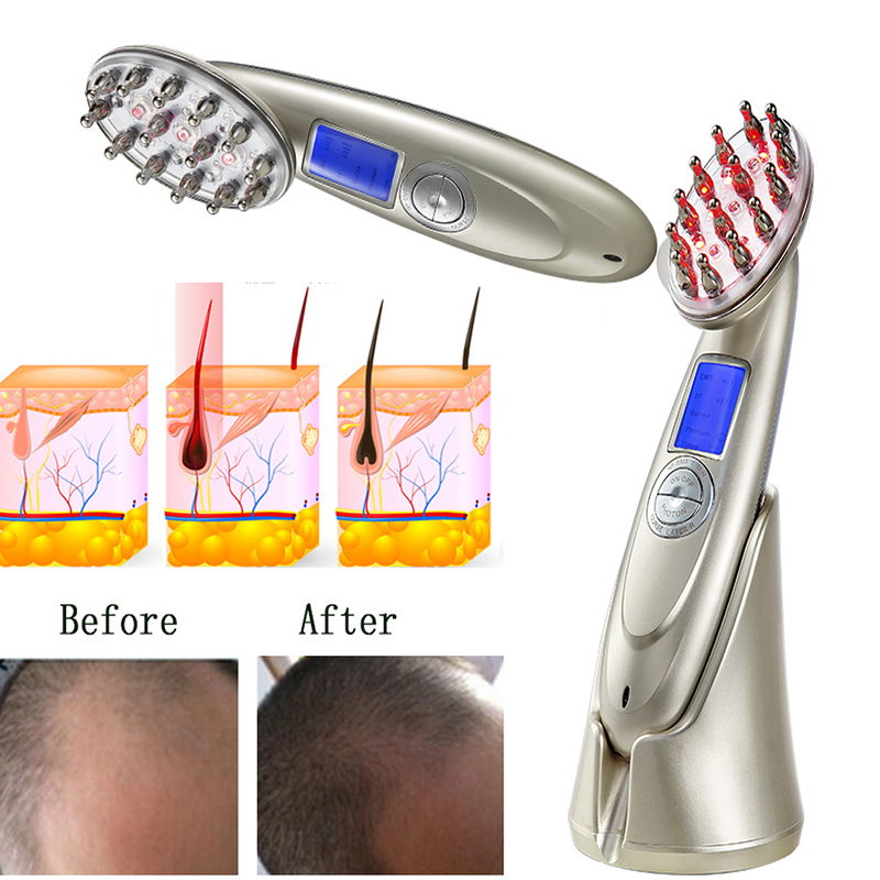 RF EMS LED Photon Laser Anti Hair Loss Comb Stimulate Hair Regrowth Brush Head Scalp Repair Hair Massager Brush Comb Tool 30 high quality scalp massage comb 3 color mixed hair hair curls comb send elders the best gifts health care tools