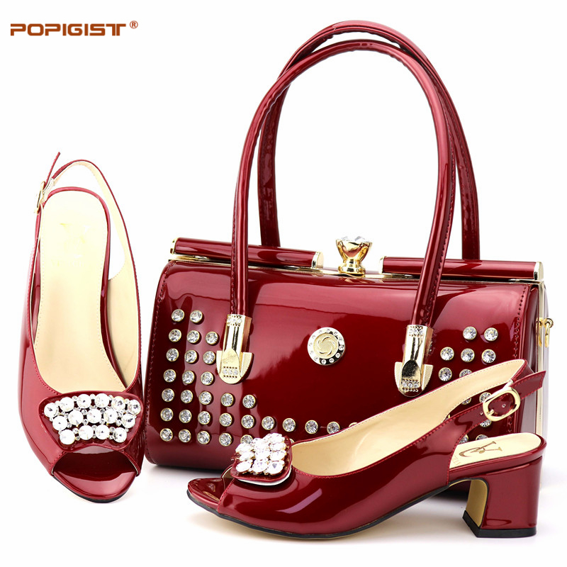 Good Quality Wine Color 6cm Pumps Size 38 To 44 Nigerian Shoes and Matching Bag Party