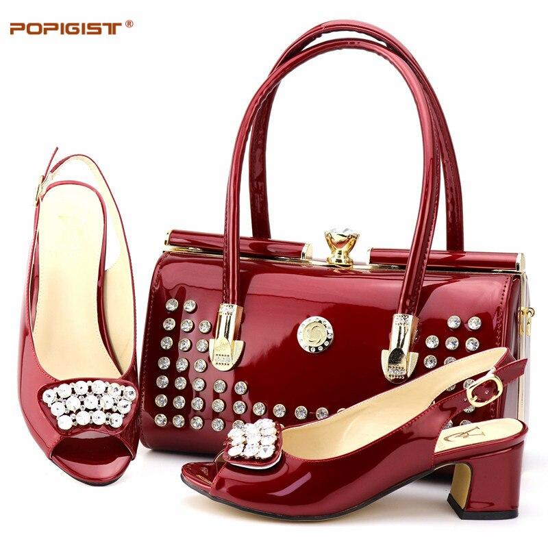 좋은 품질 와인 색상 6 cm 펌프 크기 38 44 나이지리아 신발 및 일치하는 가방 파티 참신 이탈리아 신발 일치하는 가방-에서여성용 펌프부터 신발 의  그룹 1