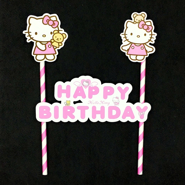 dddbfd6b2 1Set Lovely Hello Kitty Happy Birthday Party Cake Topper Cake Banner Straw  Flags Decoration Kids Girl