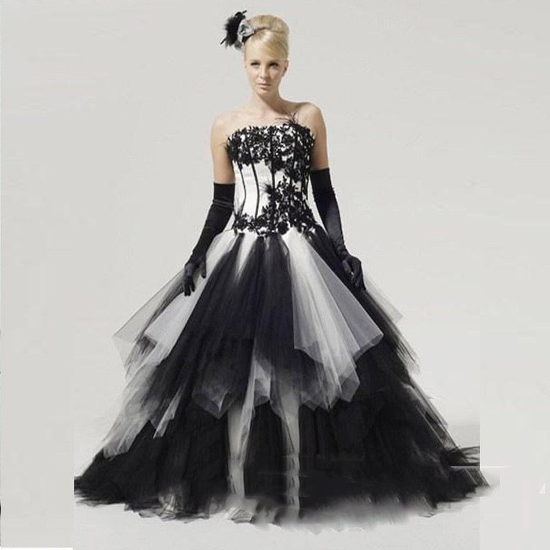Gothic Black and White Wedding Dress Vintage Ruffle Puffy Long ...