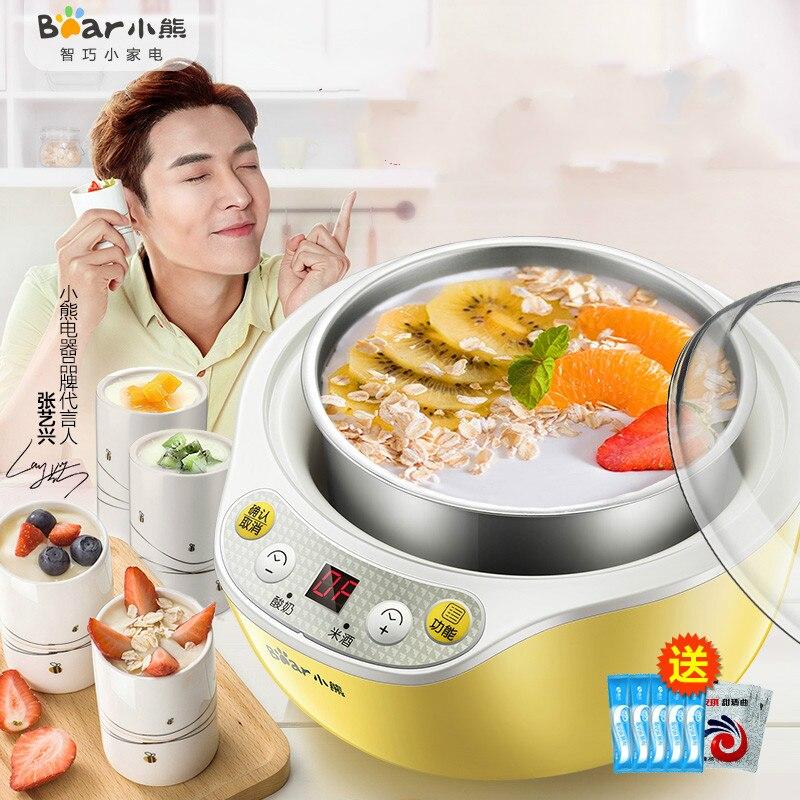 Automatic Stainless Steel Multi Yogurt Maker Machine with 4 Ceramic Cups Rice Wine container Yogurt Jars Kitchen Appliance