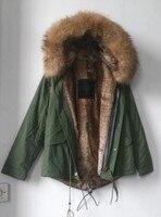 Italy design winter natural color Mr Mrs brand coats faux rabbit fur lined jacket hooded big raccoon fur collar parka