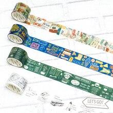 12 Styles Retro city travel planning Traveller Diary Washi Tape DIY Decoration Planner Scrapbook Sticker Label Masking Tape