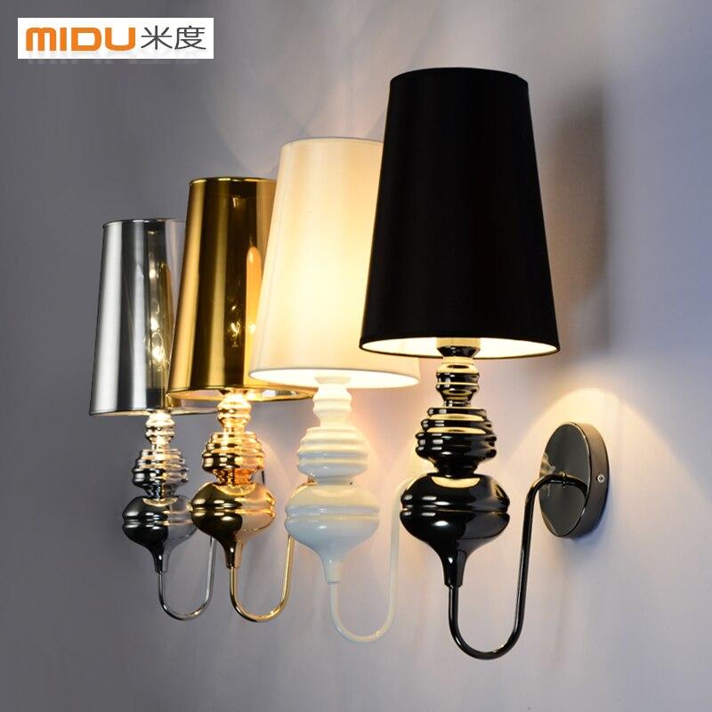Современная Краткая настенный светильник белый/черный/Золотой/Серебряный Испания ночники гостиная