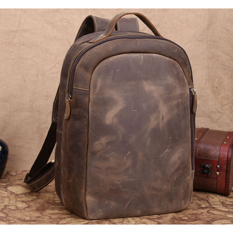 Discount Leather Boy School Backpack Minimalist Style Cool Crazy Horse Leather Laptop Backpack For Men US30728