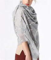top grade 100% ring goat cashmere women solid thin scarfs shawl pashmina 90x200cm grey 2color
