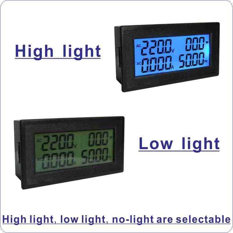 Ac 20a 200a 100a Volt Amp Panel Meter Lcd Digital Voltmeter Ammeter Ac Voltage Current Frekuensi Energi Mete Ac 60 500 V 220 380 V Meteran Volt Aliexpress