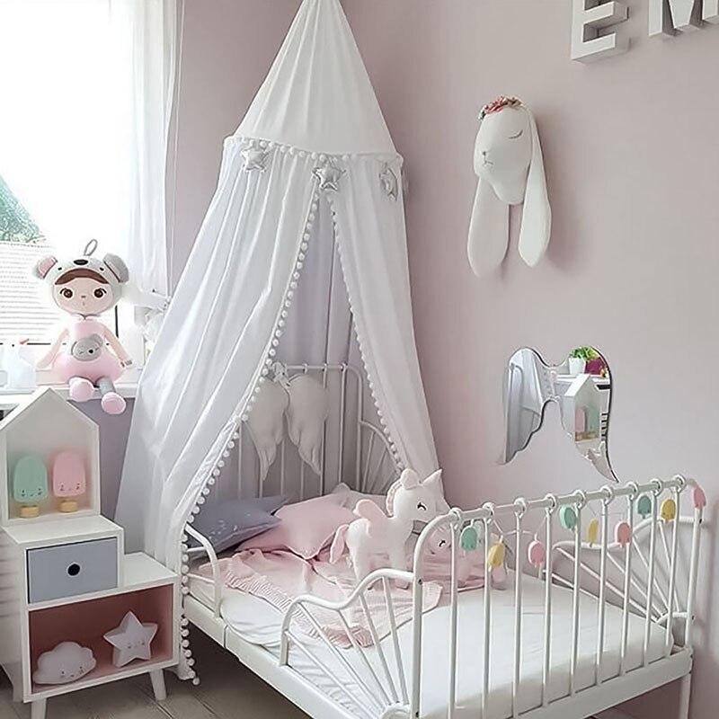Décoration nordique chambre d'enfants berceau filet princesse fille chambre kamimi lit auvent tente bébé infantile lit accroché dôme moustiquaire P20