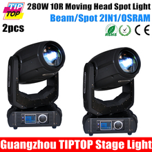 Freeshipping 2 Unit 280W Moving Head Light 10R Sharpy Beam Spot 2IN1 Frost Lens 8 Facet