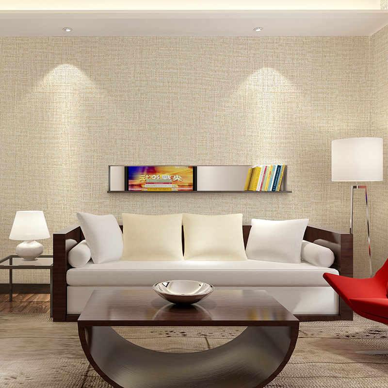 Auto-adesivo pvc impermeável papel de parede de linho dormitório impermeável grosso cinza café adesivo de parede sala de estar quarto