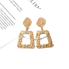 New 2019 ZA Hot Style Brincos Bijoux Statement Hanging Dangle Metal Drop Earrings Jewelry Accessories For Women Wholesale