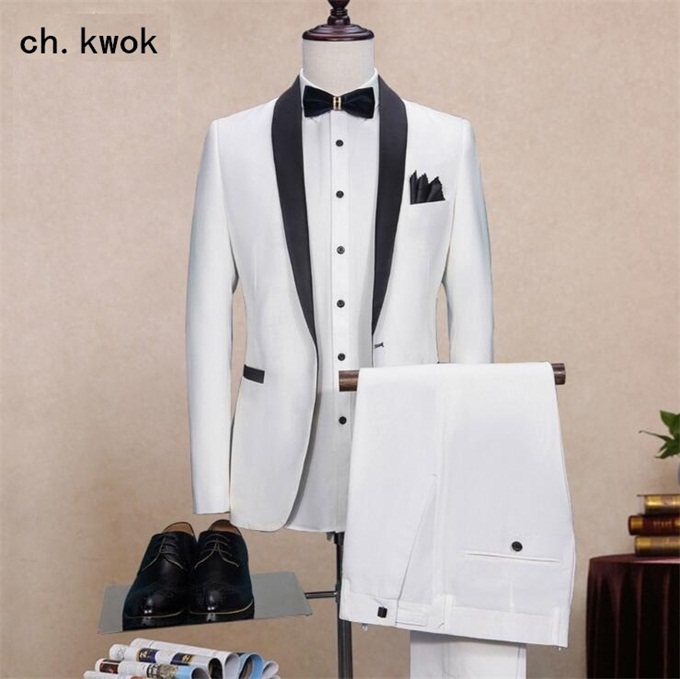 White <font><b>Suit</b></font> <font><b>Men</b></font> Slim Fit Shawl Lapel <font><b>Wedding</b></font> Dress <font><b>Suits</b></font> <font><b>Men</b></font> Event <font><b>2018</b></font> Plus Size <font><b>Terno</b></font> Masculino Solid 2 Pcs Tuxedo Blazer Pants image