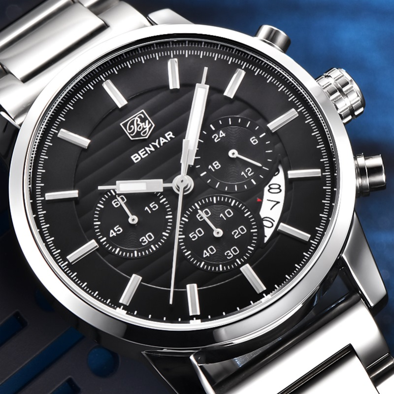 BENYAR Fashion Stainless Steel Chronograph Sports Mens Watches Top Brand Luxury Quartz Business Watch Clock Relogio Masculino