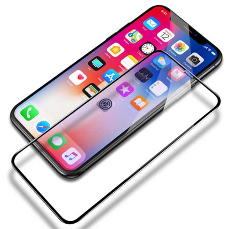 Protecteur d'écran en verre trempé Ultra-mince pour iPhone X Film de Fron clair et bleu pour iPhone X protecteur d'écran doux bord TPU