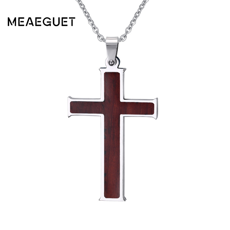 Meaeguet Wood Inlay Christian Cross Pendant Stainless Steel Chain