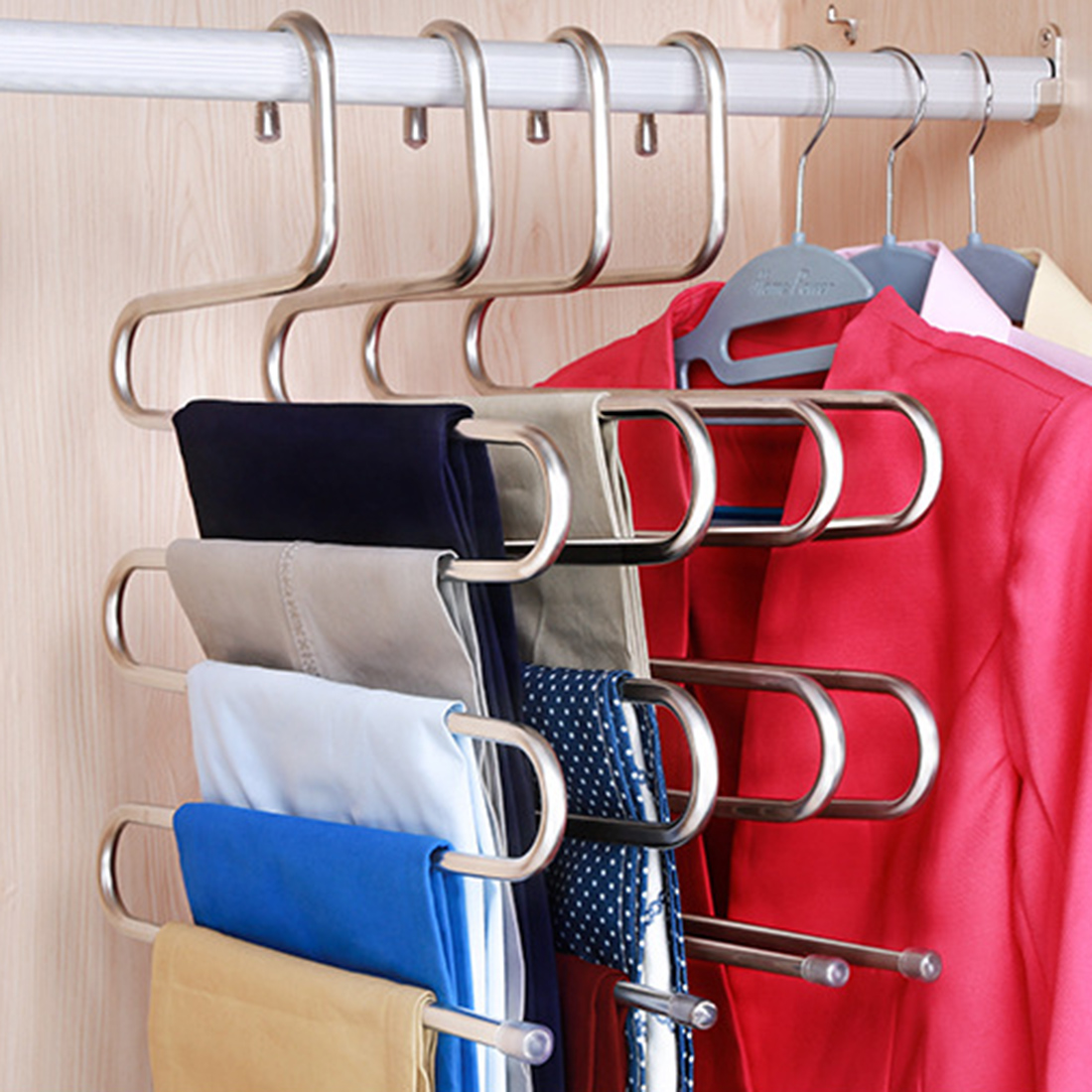1pcs Multifunctional Multi-layers Rack S-Shape Stainless Steel Hangers For Clothes Scarf /Ties/Belts Organizer - Silver