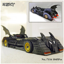 H HXY 7116 1045Pcs Super Hero Batman The Ultimate Batmobile Model Building Kits Blocks Bricks Compatible