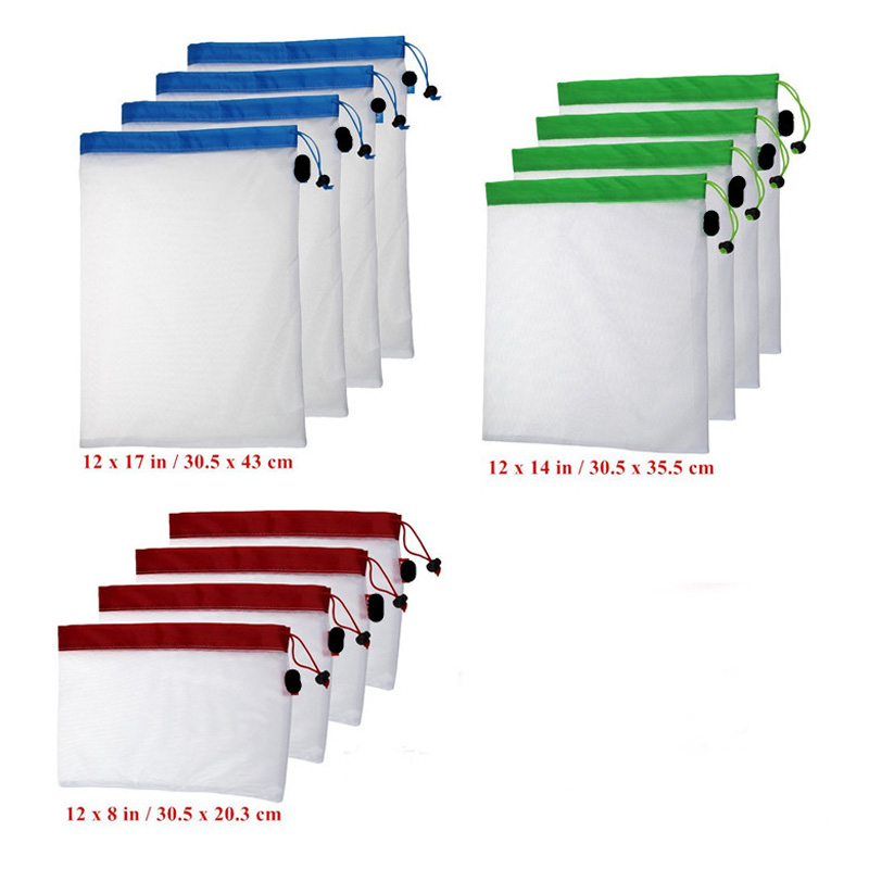 15 Pcs/Set Reusable Produce Bags White Premium Polyester Mesh Bags - Storage bags for Toys & Vegetable & Fruit & Grocery Bags