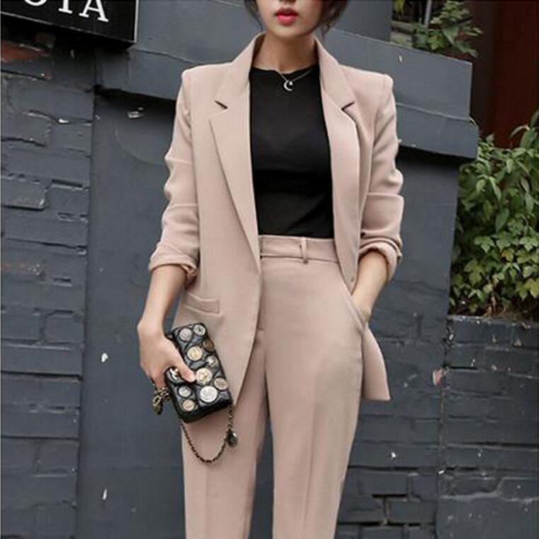 Pantaloni Modo Ol Modelli Temperamento E Svago Unico Di Tuta black Colore Solido Donne Pulsante Coreano Primavera Vestito Apricot Autunno Piccolo ptaxO0