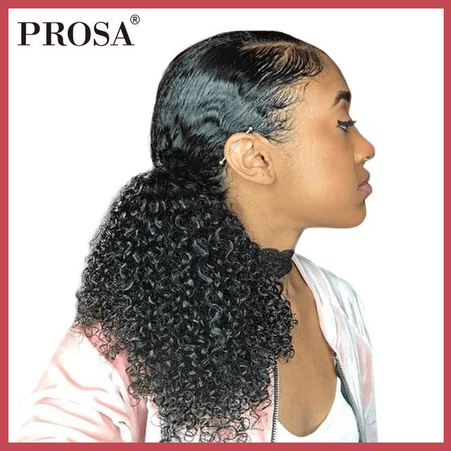 3B 3C pelo humano rizado de cola de caballo para mujeres Clip Mongol de Color Natural en extensiones de cabello humano Prosa Remy One pieza