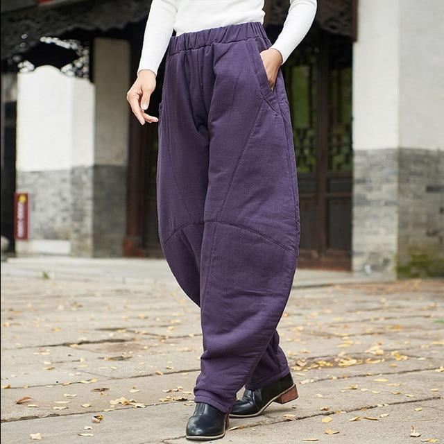 Johnature 2019 New Thicken Winter Warm Women Solid Color Cotton Linen Loose Pants Vintage Elastic Wait 3 Colors Lantern Pants