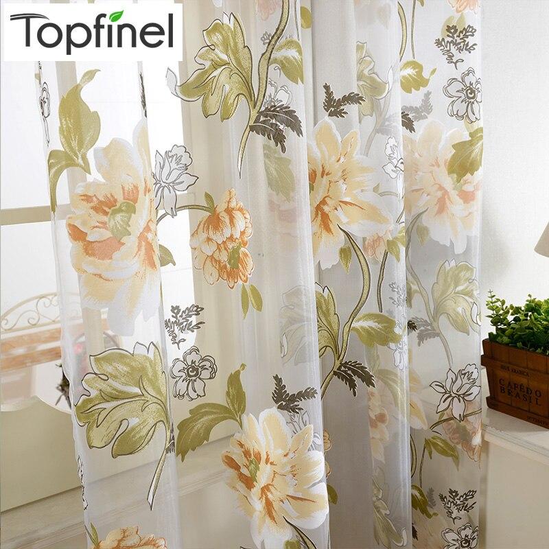 top finel floral escarpada ventana cortinas para la cocina dormitorio sala de estar cortinas de tul