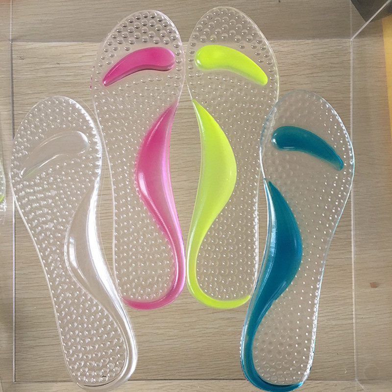 Comfortable Transparent Non-Slip Arch Heel Cushion Support Silicone Gel Pads Shoes Insole Pain Relief Useful Women Pad 2016 1 pair large size orthotic arch support massaging silicone anti slip gel soft sport shoe insole pad for man women