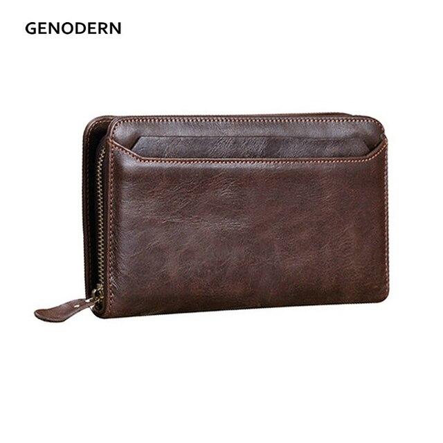 3dc332d1a292f GENODERN Aus Echtem Leder Kupplung Geldbeutel für Männer Kuh Leder  Männlichen Kupplung Brieftasche Reißverschluss Männlichen Brieftasche