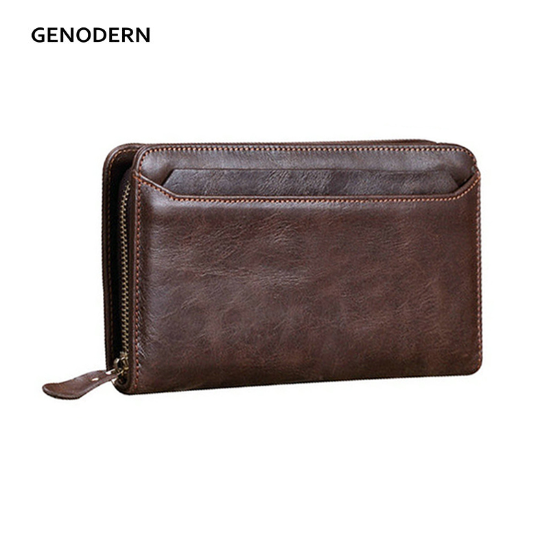 GENODERN Genuine Leather Clutch Wallets for Men Cow Leather Male Clutch Wallet Zipper Male Purse Long Wallet with Card Holders fashion clutch genuine leather men wallets with wristlet zipper long male wallet crocodile pattern men purse man s clutch bags