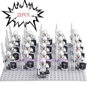Image 5 - 21 pçs/lote Game of Thrones Guarda Real Legoed Exército Minifigured Playmobil Cavaleiro Medieval Soldados Militares Blocos De Construção De Brinquedos