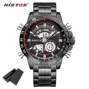 RISTOS Chronograph Multifunction Men's Sport Stainless Steel Watches Analog Fashion Wristwatch Relojes Masculino Military 9339(China)