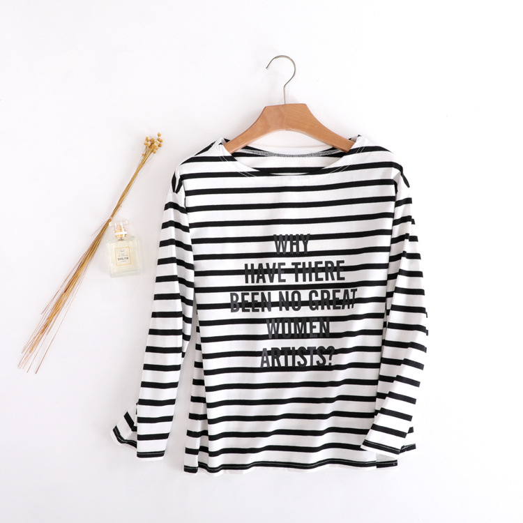 New T-shirt high-end black white stripe Letter Round collar cotton short sleeved jacket tops