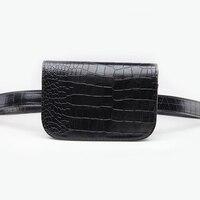 Brand Design PU Leather Waist Bag For Women Korean Style Alligator Waist Pack Ladies Travel Belt