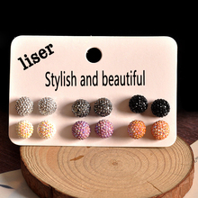 6 Pairs /set Earrings Set New Fashion Women Accessories Wholesale Girls Birthday Party Pearl Beautiful Mix-and-Match