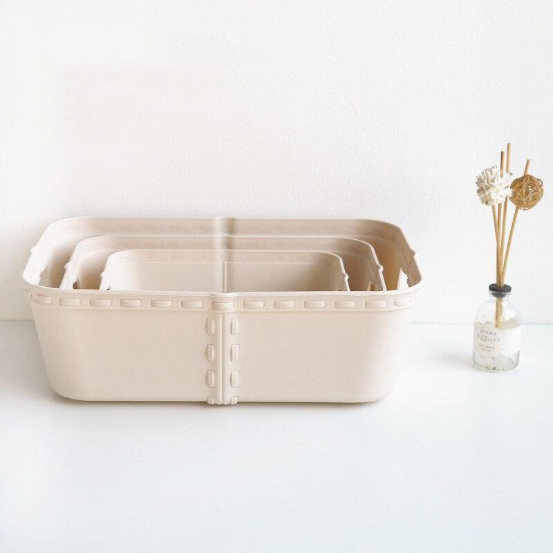HIPSTEEN Plastic Storage Basket Imitation Rattan Clothes Toys Storage Box Kitchen Bathroom Desktop Makeup Organizer
